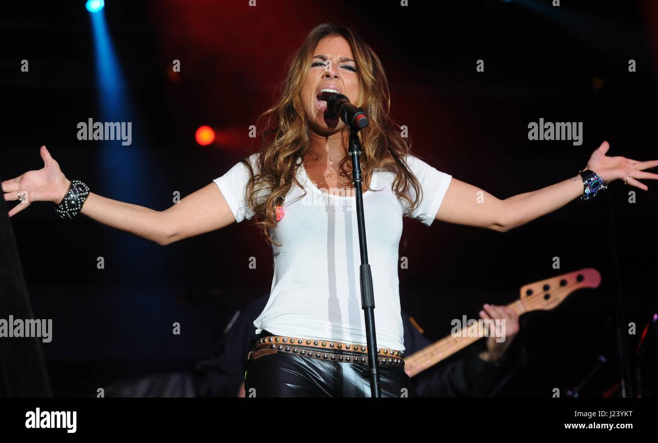Singer Jessie James performs for U.S. soldiers during the Tour for the Troops concert at the Incirlik Air Base December - Stock Image