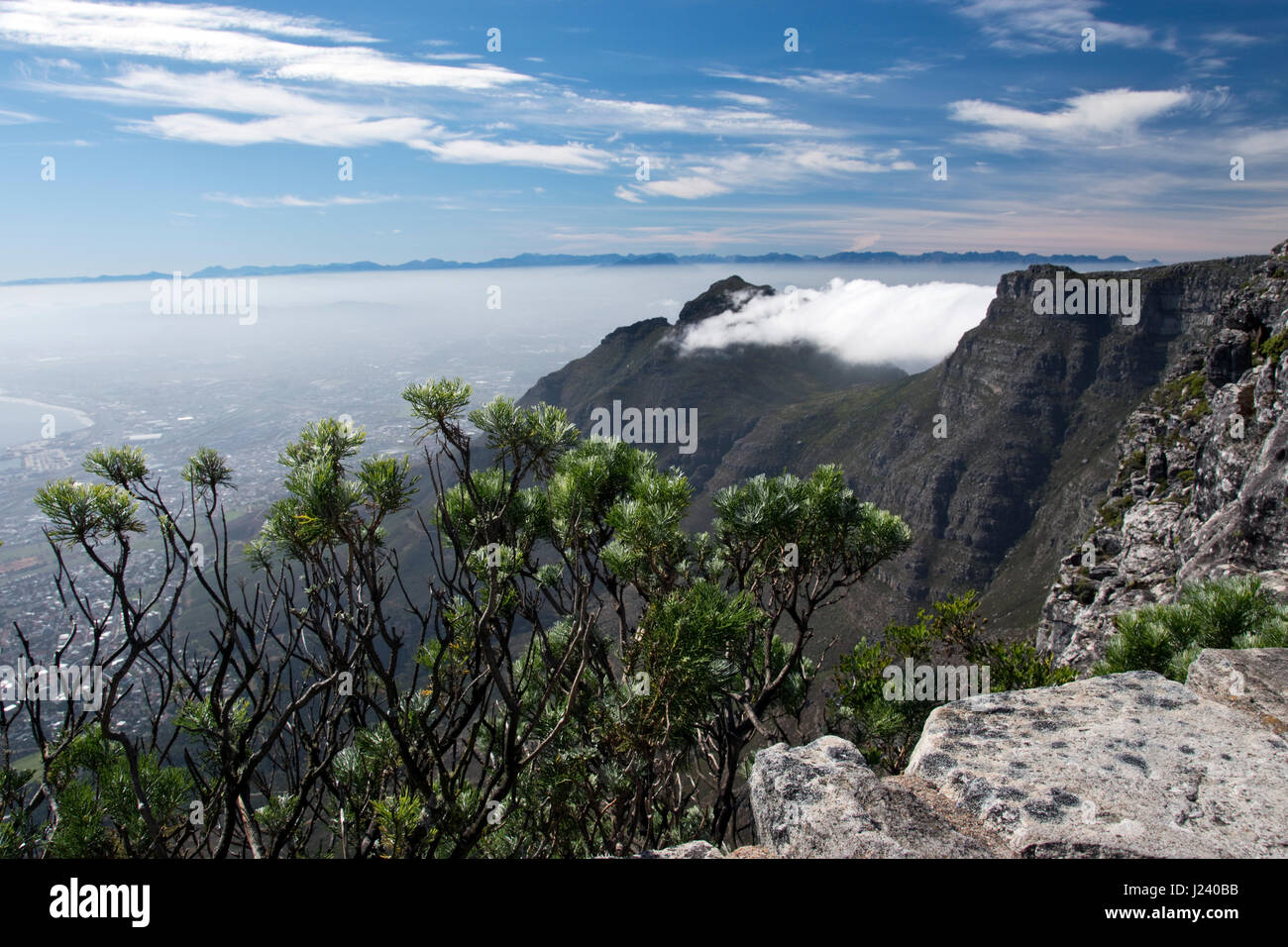 The view from the top of Table Mountain, the flat-topped mountain that overlooks Cape Town, South Africa. - Stock Image