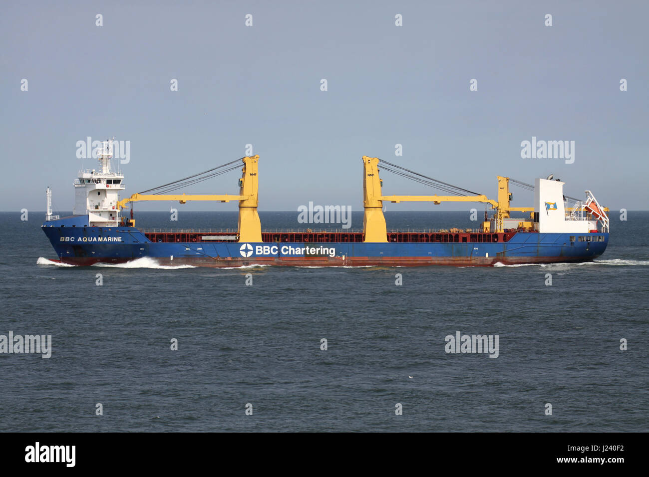 BBC Aquamarine outbound Rotterdam. BBC Chartering is the largest multipurpose, heavy lift and project shipping company - Stock Image