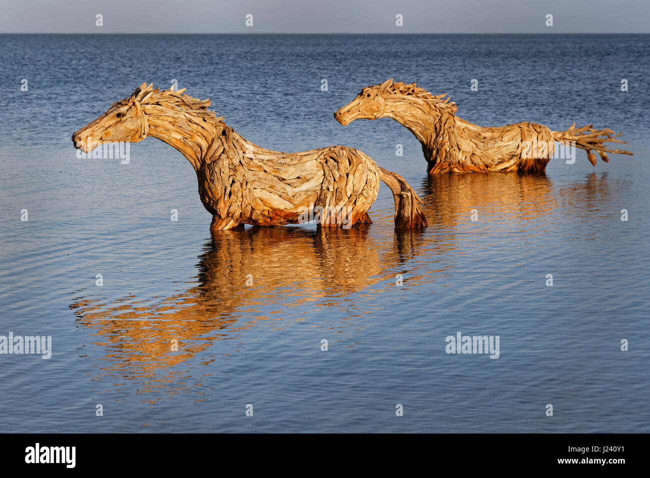 Art at Sylt, Horses made by straw, Schleswig-Holstein, Germany, Europe - Stock Image