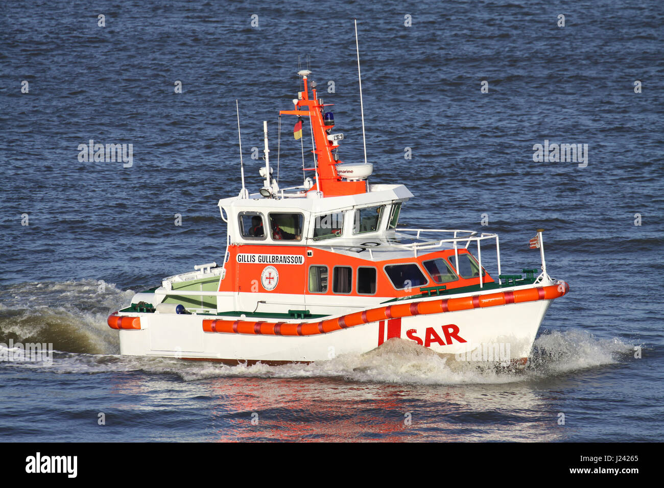 DGzRS SAR lifeboat GILLIS GULLBRANSSON on the river Elbe. The DGzRS is responsible for Search and Rescue in German - Stock Image