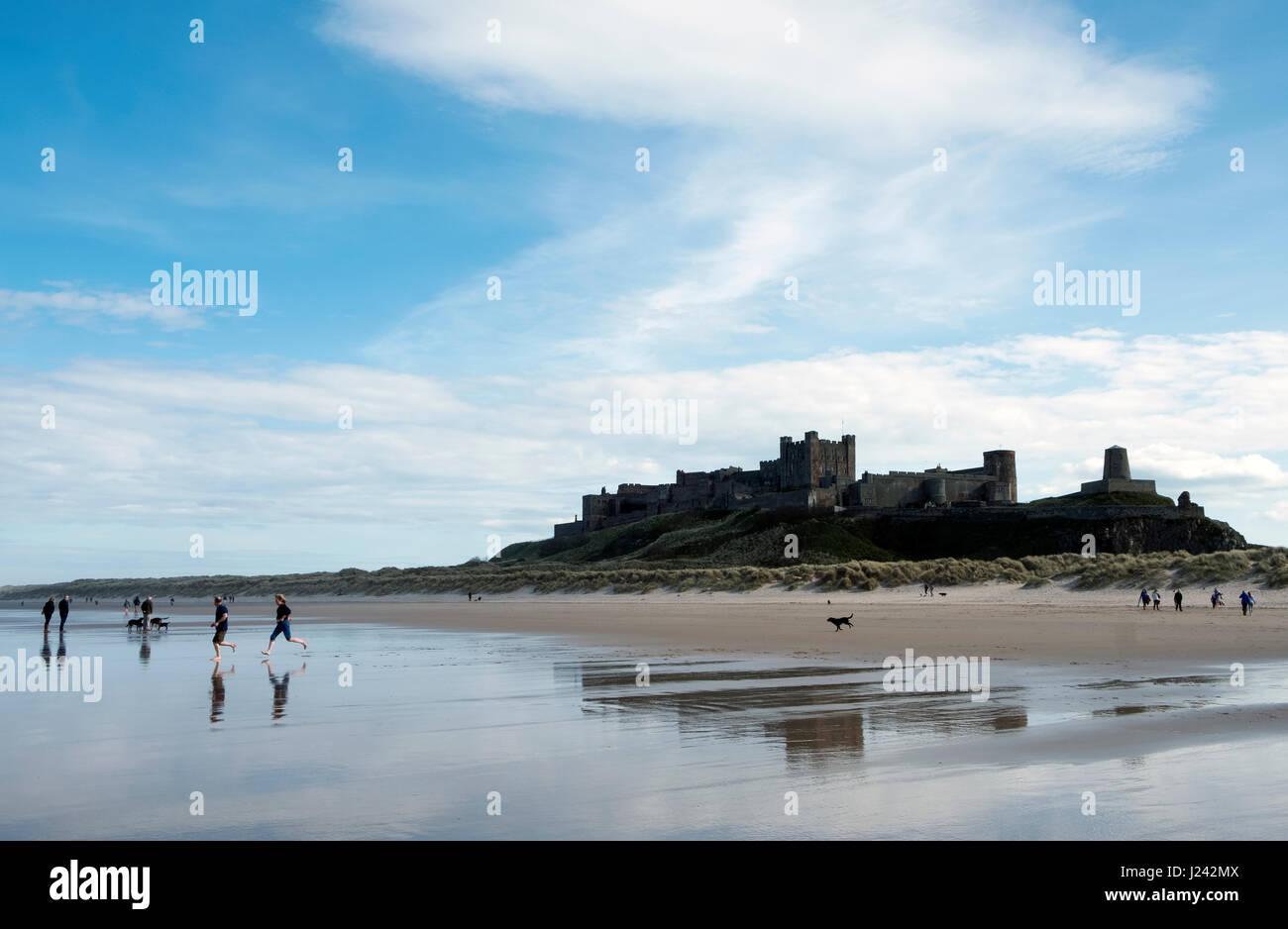Bamburgh Castle Northumberland, England, Great Britain, UK - Stock Image