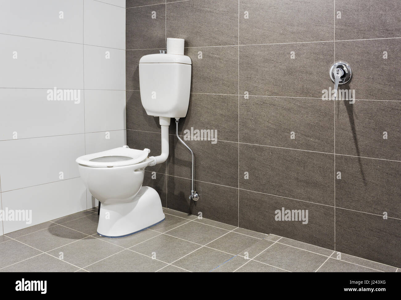WHite porcelain toilet seat in a modern bathroom for disabled people giving extra space and access. - Stock Image