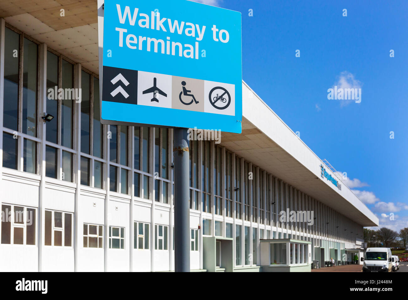 Main entrance sign at Glasgow Prestwick Airport, Prestwick, Ayrshire, Scotland. This airport has been bought over Stock Photo