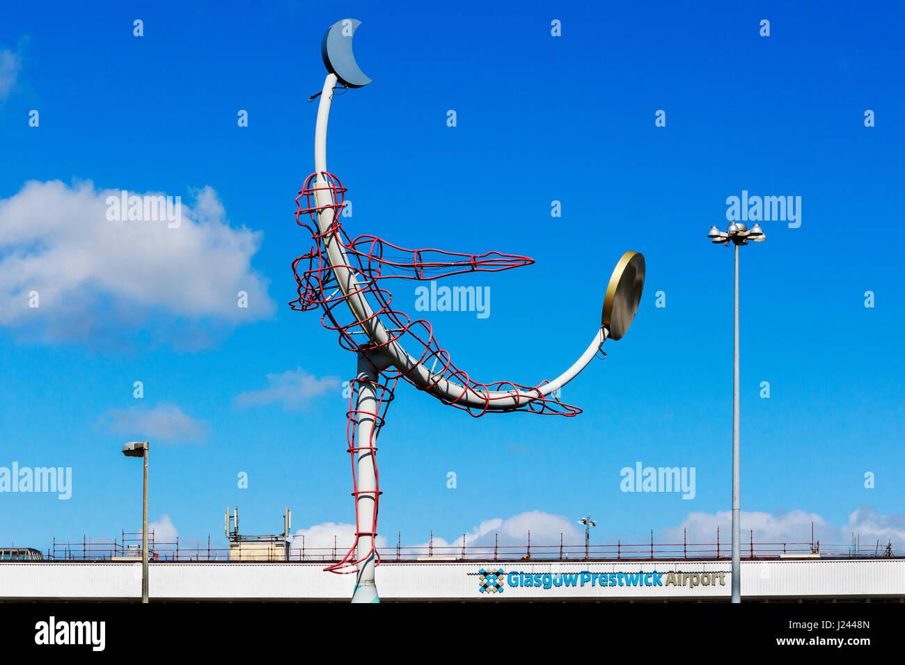 Flying man symbol outside Glasgow Prestwick Airport, Prestwick, Ayrshire, Scotland, UK Stock Photo