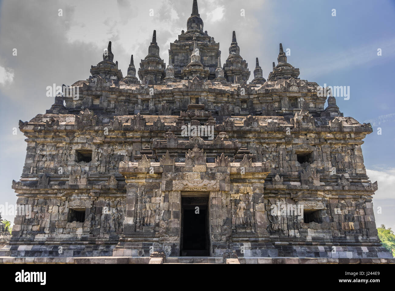 Facade of Plaosan Lor in Plaosan temple Complex, Buddhist temple built by Sri Kahulunnan or Pramodhawardhani. Located - Stock Image