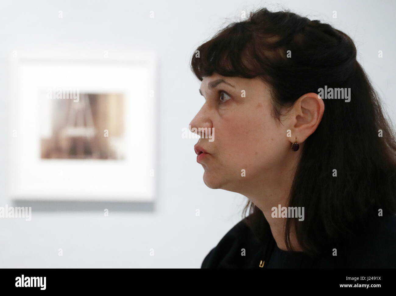 Moscow, Russia. 24th Apr, 2017. Pushkin State Museum of Fine Arts Director Marina Loshak at an exhibition of works - Stock Image