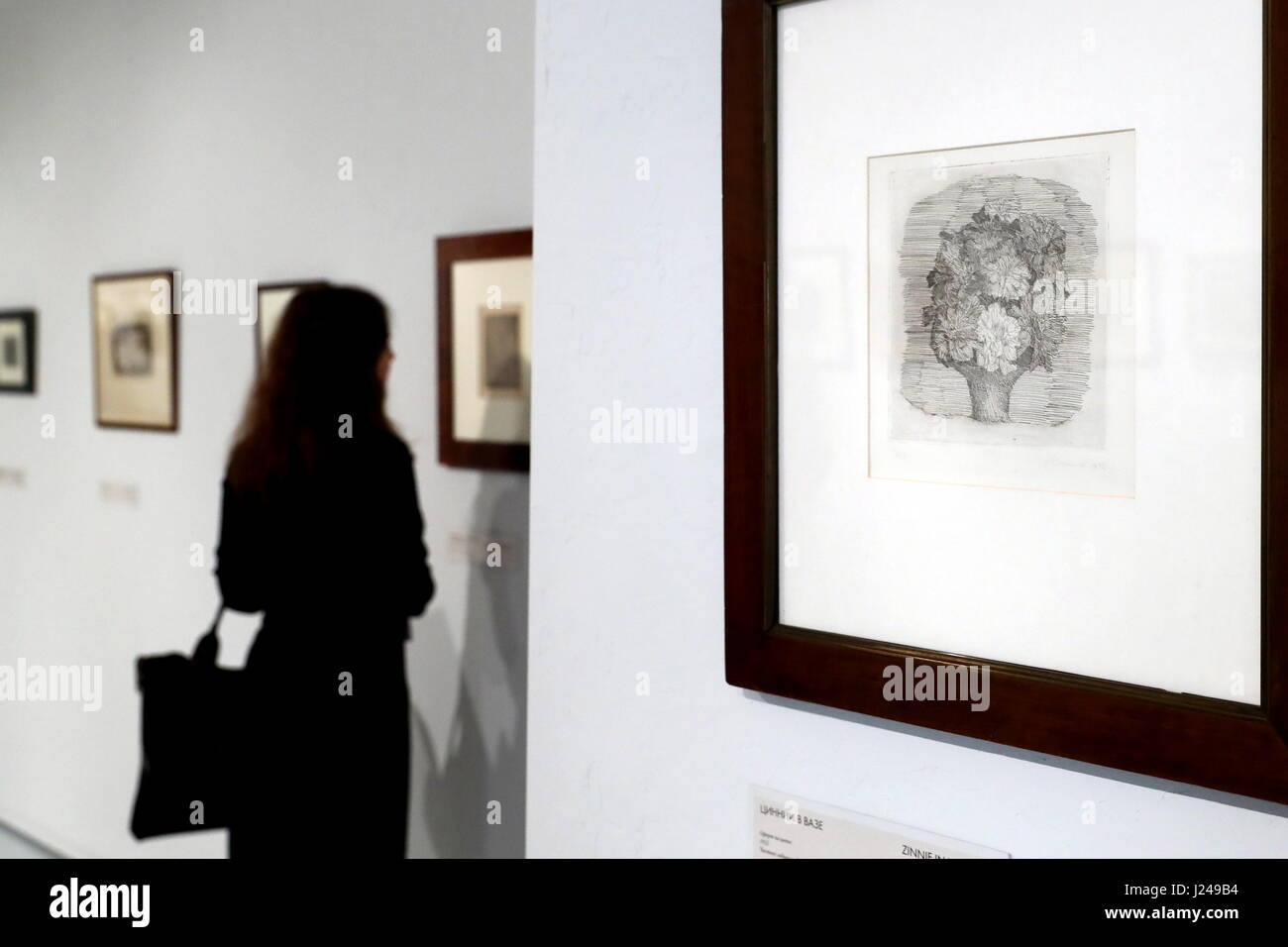 Moscow, Russia. 24th Apr, 2017. Zinnie in un vaso on display at a retrospective exhibition of works by Italian painter - Stock Image