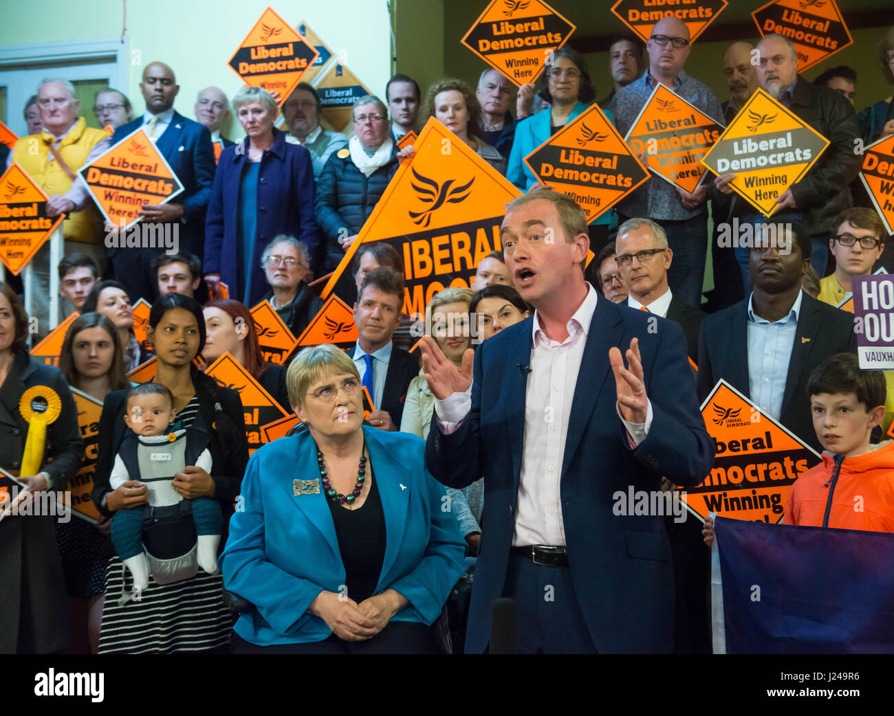 London, UK. 24th Apr, 2017. Leader of the Liberal Democrats campaigns in Vauxhall. Mr Farron has ruled out any coalition - Stock Image