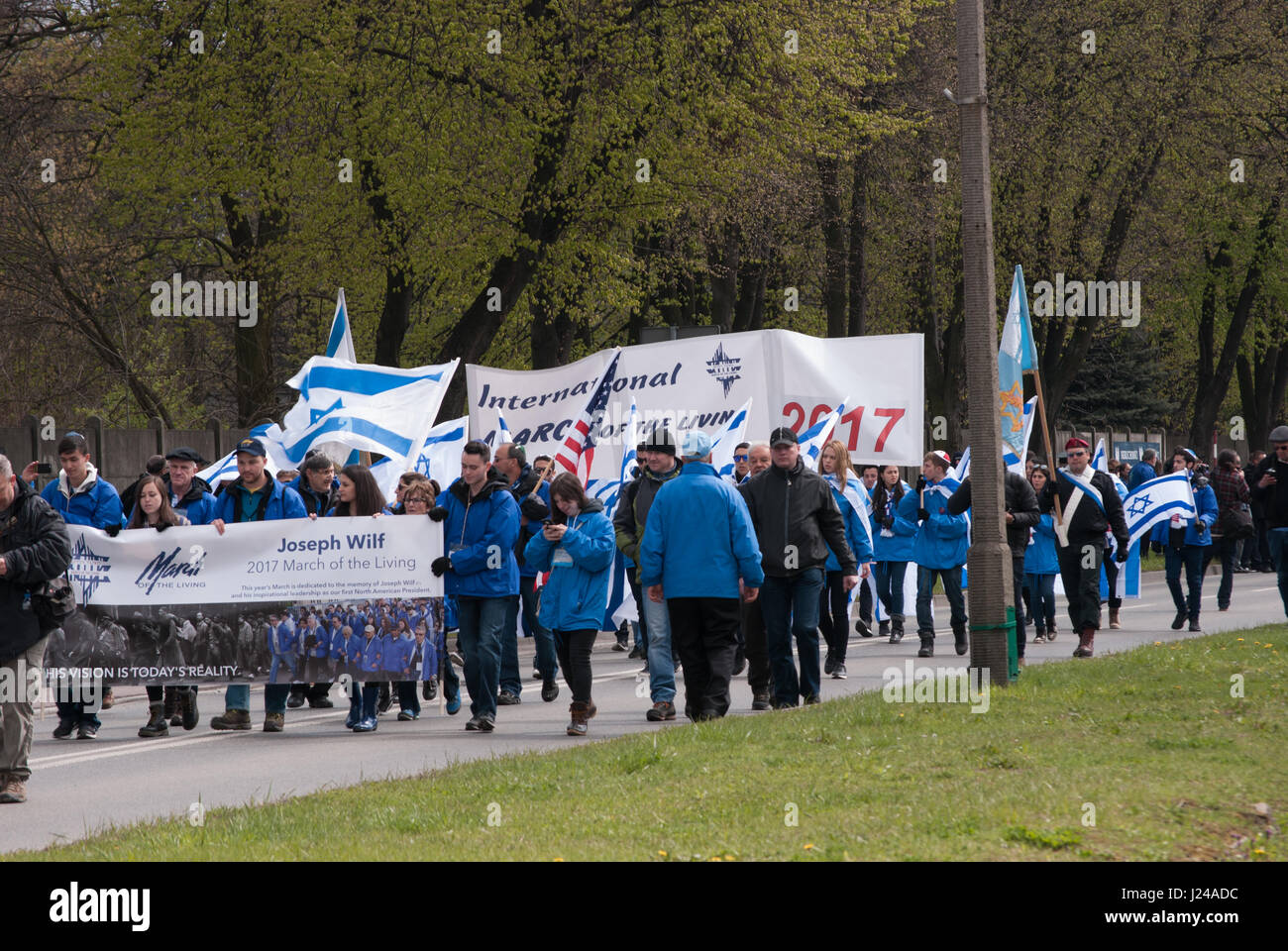 Auschwitz, Birkenau, Poland. 24th Apr, 2017. Several thousand young people from over 40 countries are taking part - Stock Image