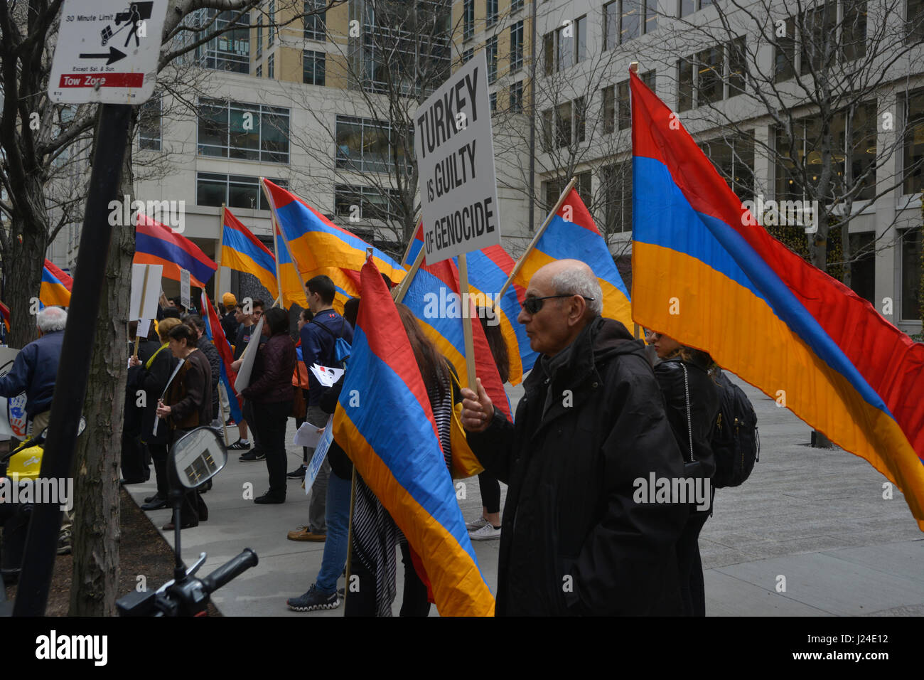 Boston, Massachusetts, USA. 24th Apr, 2017. Armenian Americans in Boston commemorate the 102 anniversary of the Stock Photo