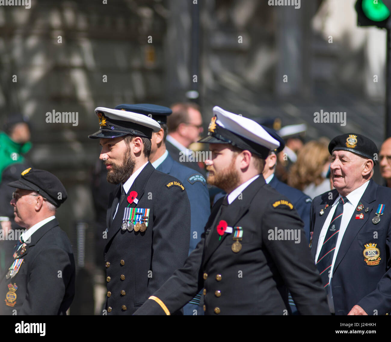 Cenotaph, Whitehall, London UK. 25th April, 2017. ANZAC Day ceremony at the Cenotaph attended by High Commissioners - Stock Image