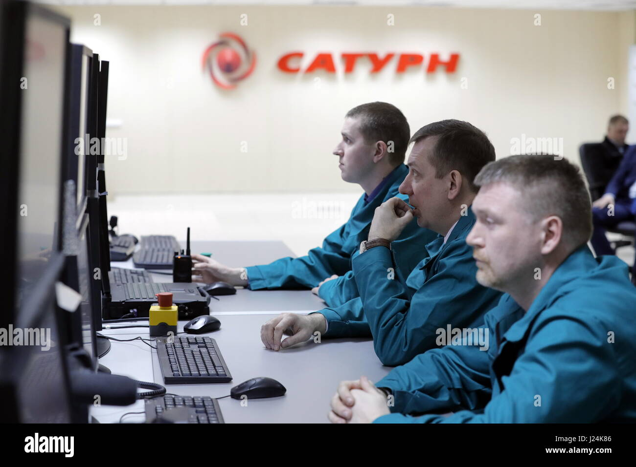 Yaroslavl Region, Russia. 25th Apr, 2017. NPO Saturn employees work at the company's offices in Rybinsk. NPO - Stock Image