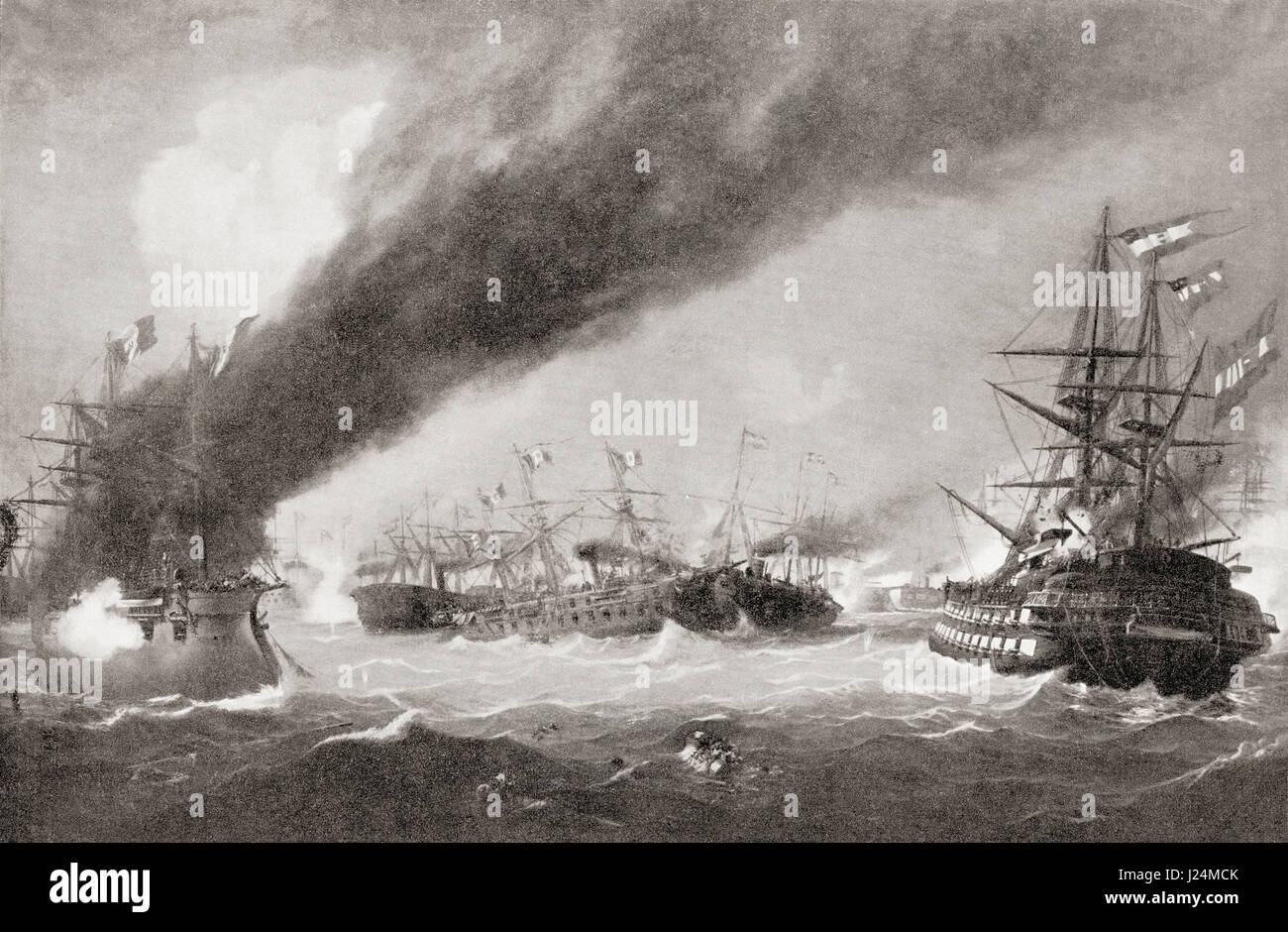 The Sea Battle of Lissa aka Battle of Vis, 20 July 1866, between Italy and the Austrian Empire.  From Hutchinson's - Stock Image