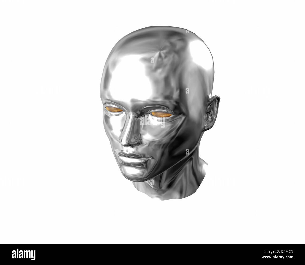Silver liquid face of terminator woman - Stock Image