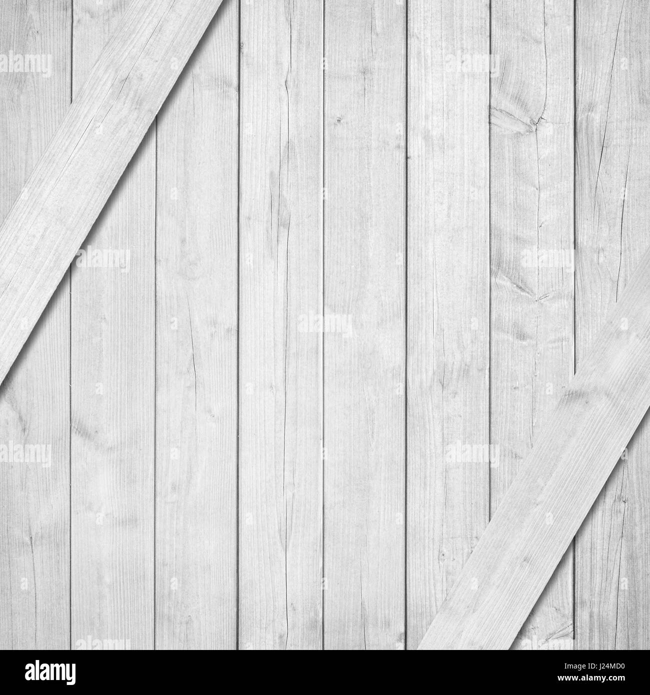 Side of white, grey wooden crate, box with diagonal planks - Stock Image