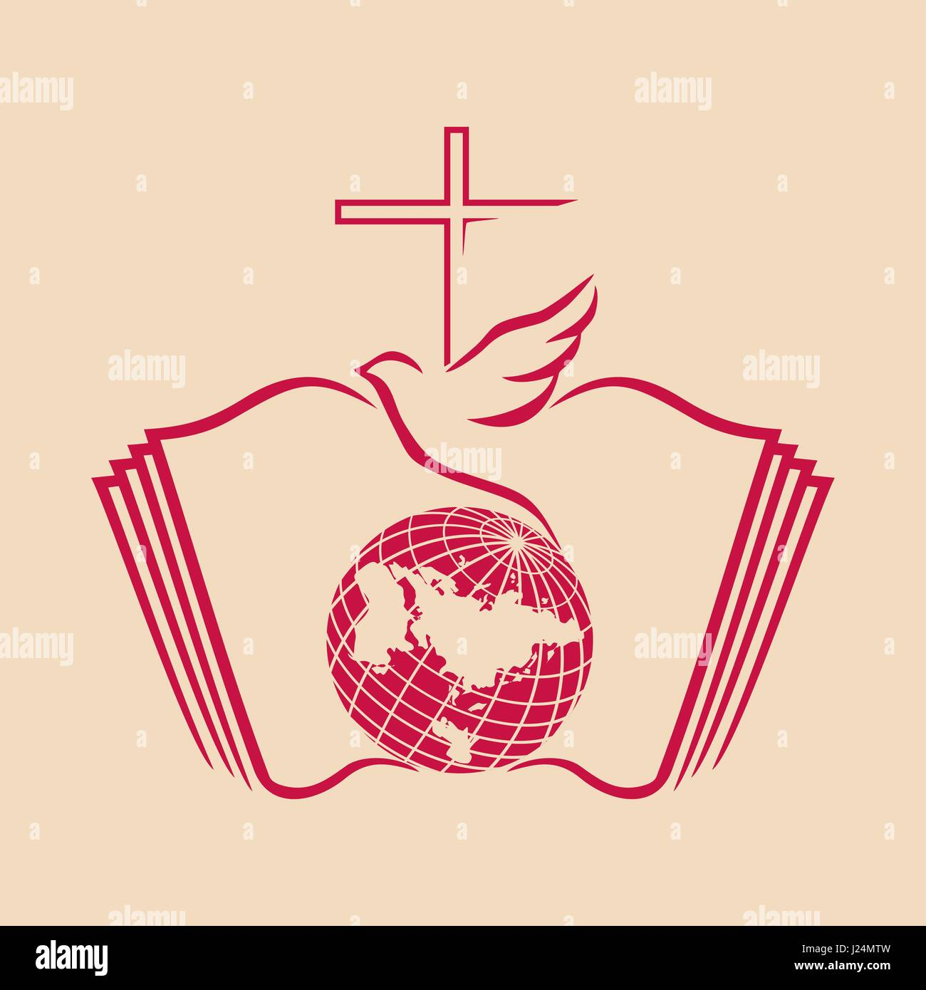 Church logo christian symbols the cross of jesus the globe the church logo christian symbols the cross of jesus the globe the world the open bible and the dove the symbol of the holy spirit buycottarizona Image collections