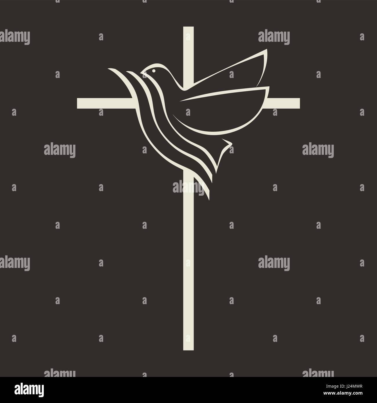 Dove With Cross Symbol Stock Photos Dove With Cross Symbol Stock