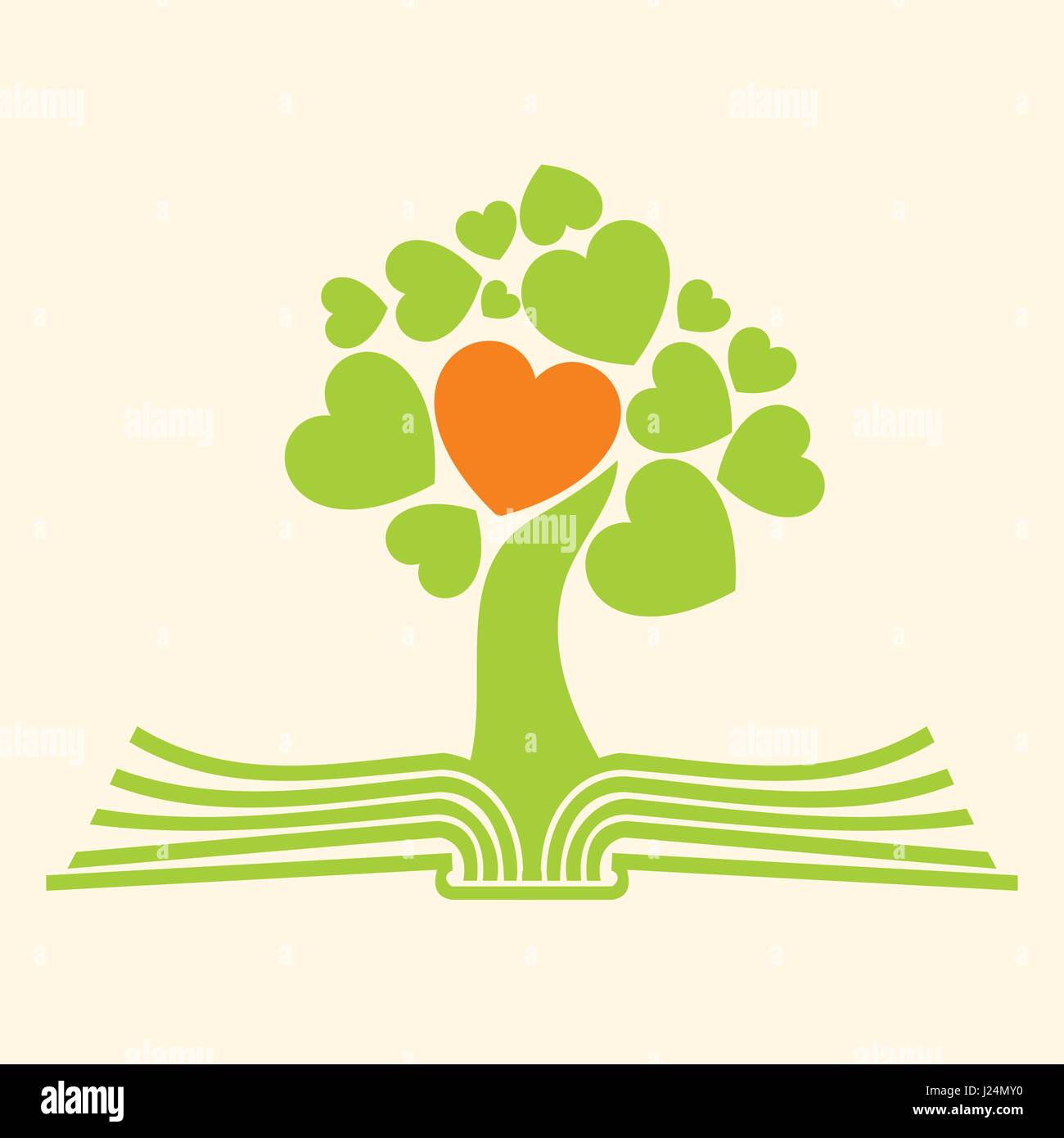 Church Logo Christian Symbols Tree Of Life And The Bible Stock