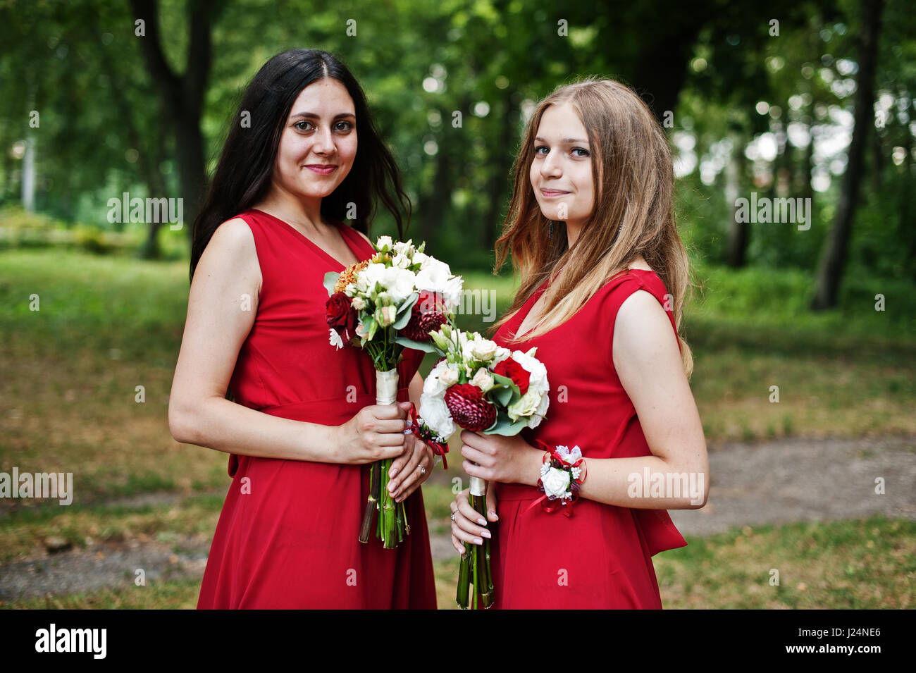 Two Girls Bridesmaids At Red Dresses With Wedding Bouquets Stock Photo Alamy,Jcpenney Wedding Dresses Bridal Gowns