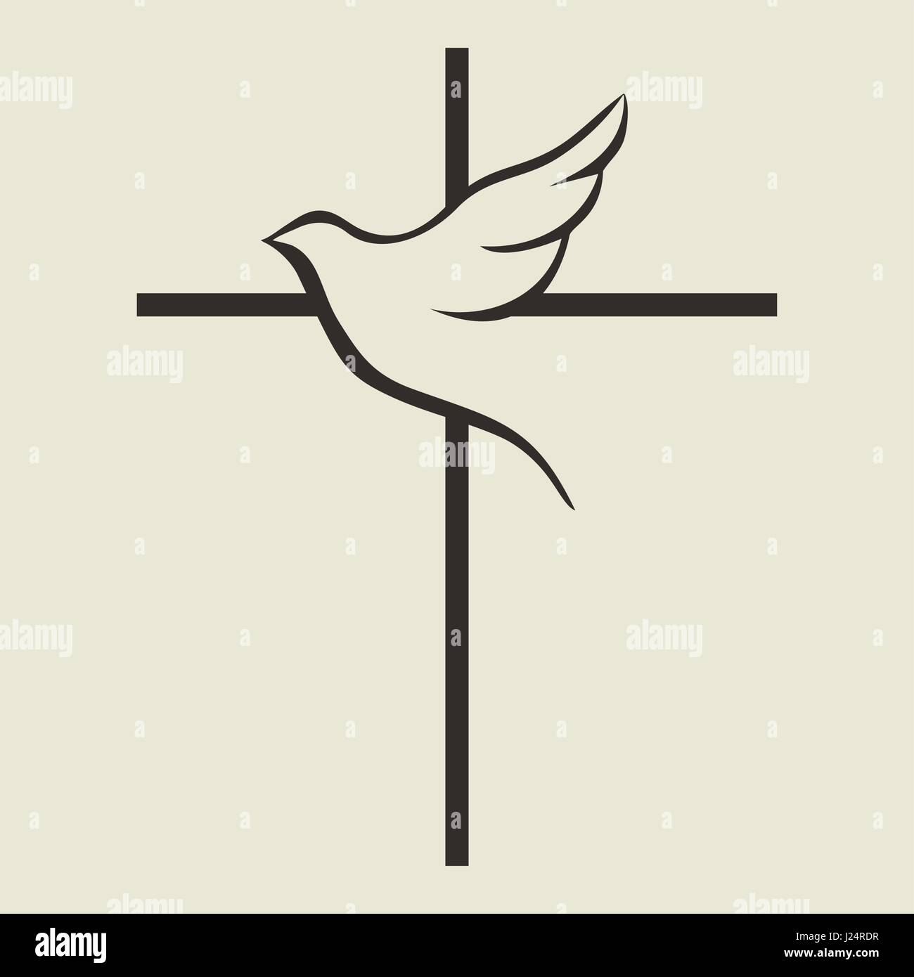 Church Logo Bible Symbols The Cross Of Jesus And The Dove Stock