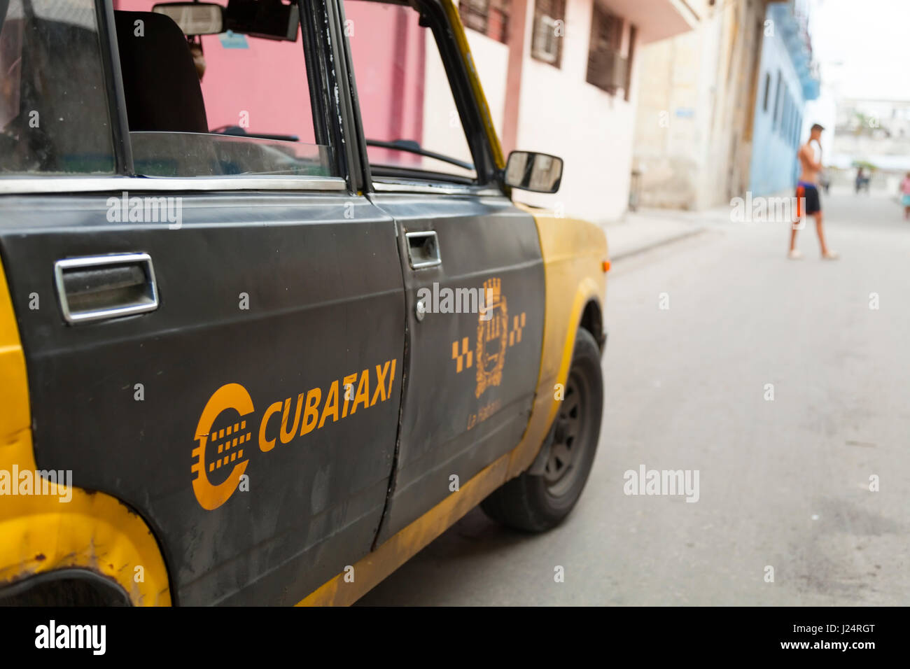 A closeup of an official Cuban taxi in Havana, Cuba. - Stock Image