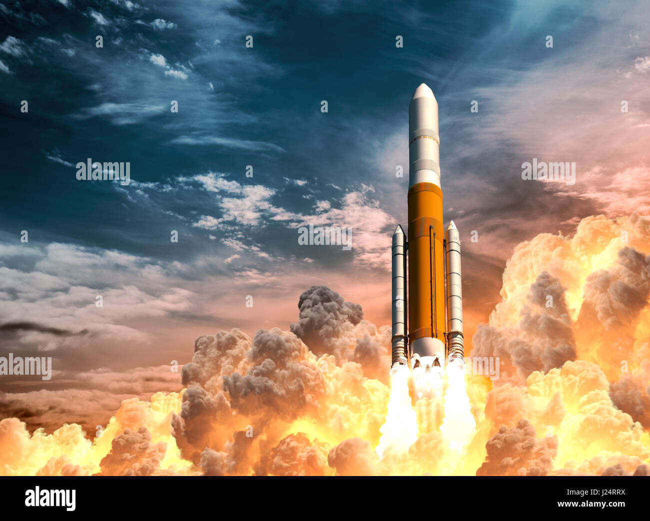 Heavy Rocket Launch On The Background Of Cloudy Sky - Stock Image