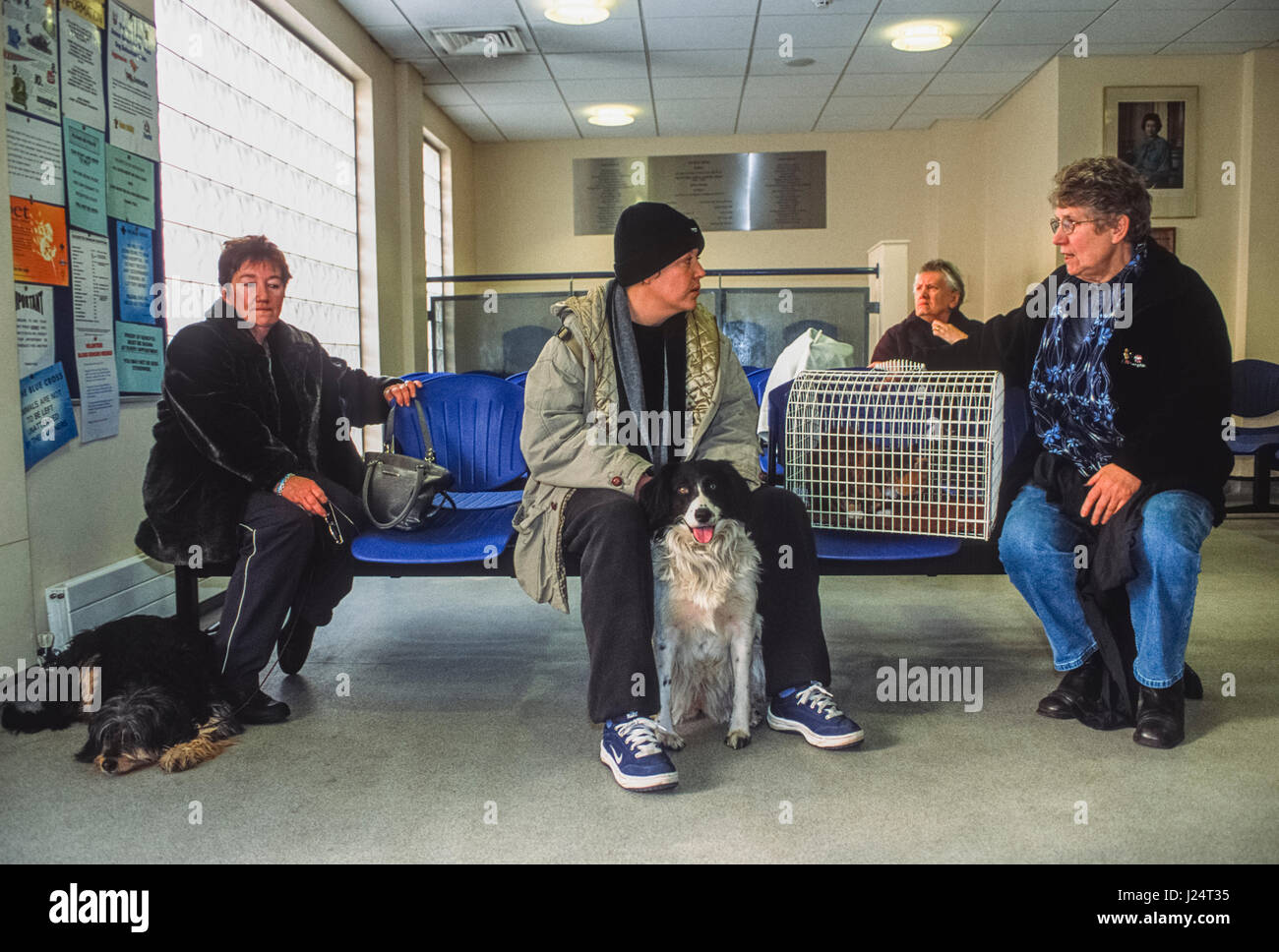 Pet owners in the waiting room at the Blue Cross Animal Hospital, Victoria, London, United Kingdom - Stock Image
