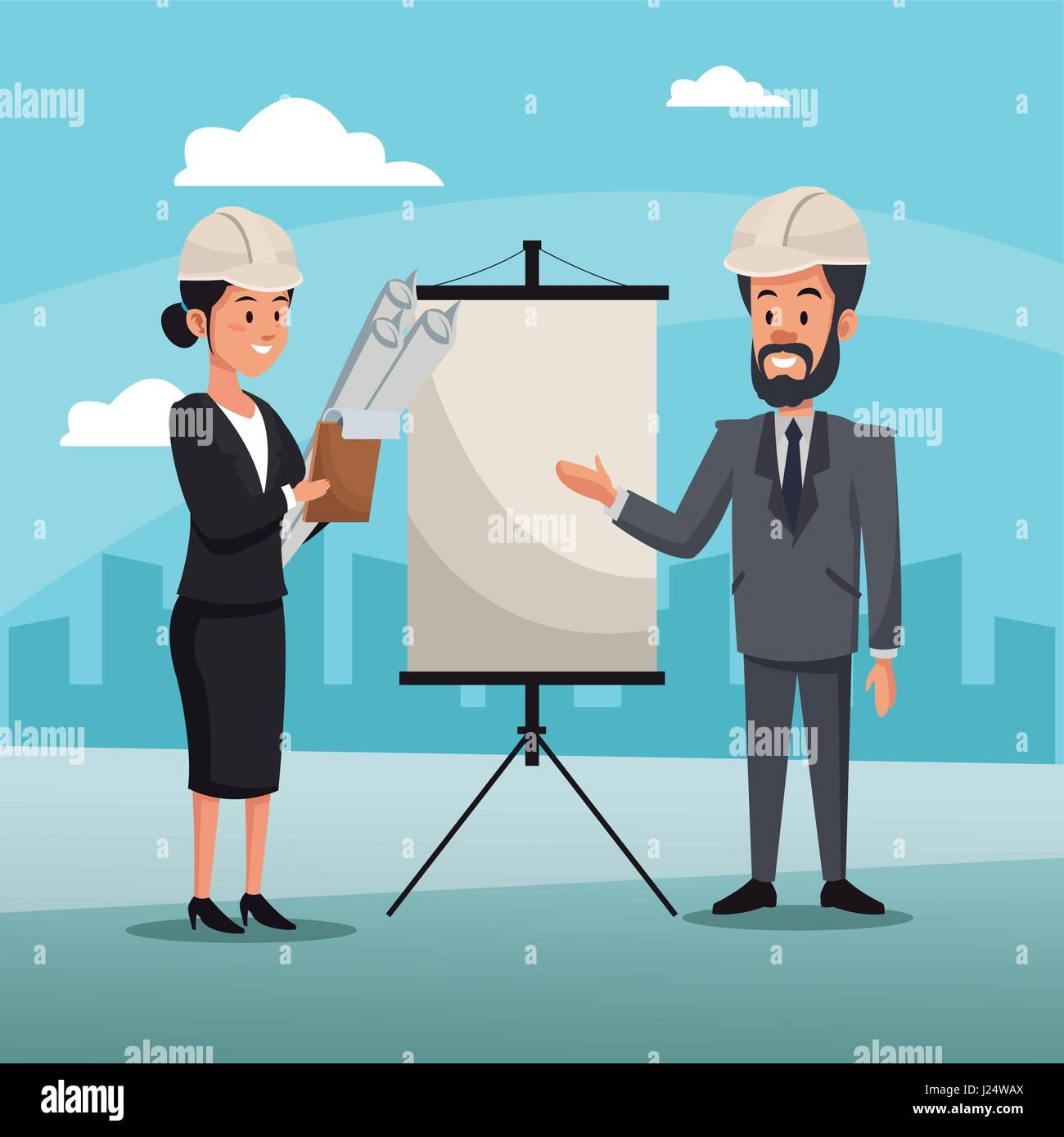 man and woman engineer construction presentation board cityscape Stock Vector