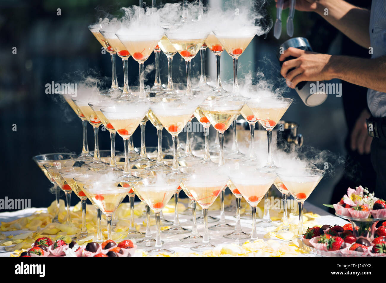 Champagne pyramid as decoration of your banquet 83