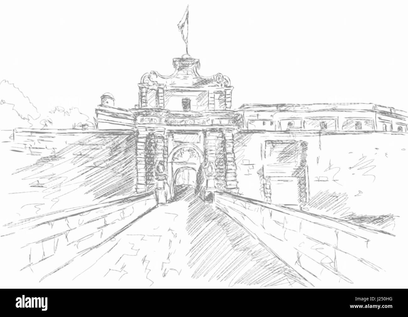 Sketch of T Mdina, MALTA - Stock Image