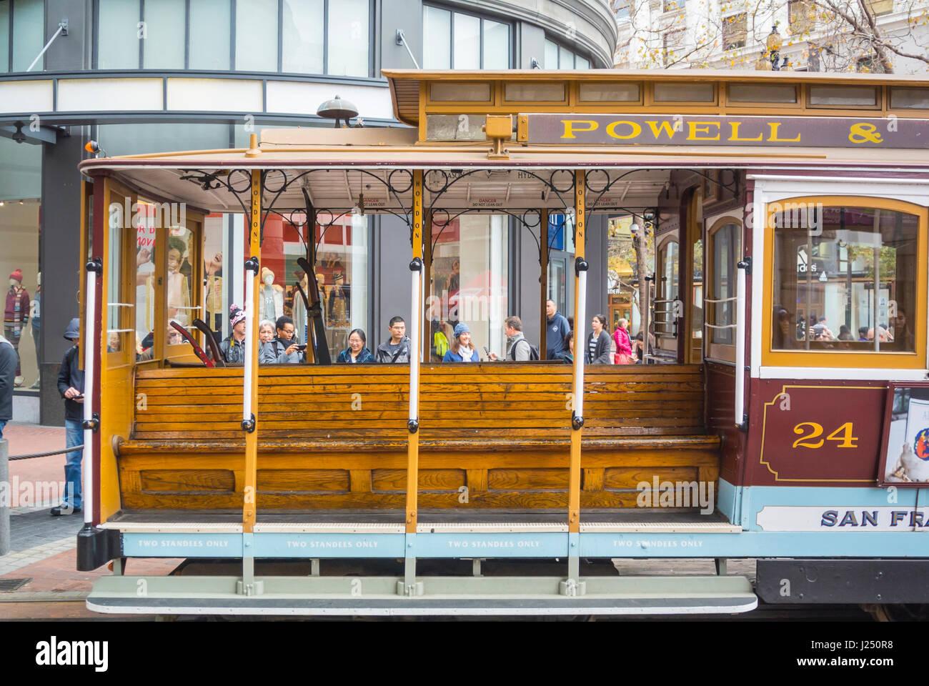 San Francisco, California, United States of America, North America, cable car - Stock Image