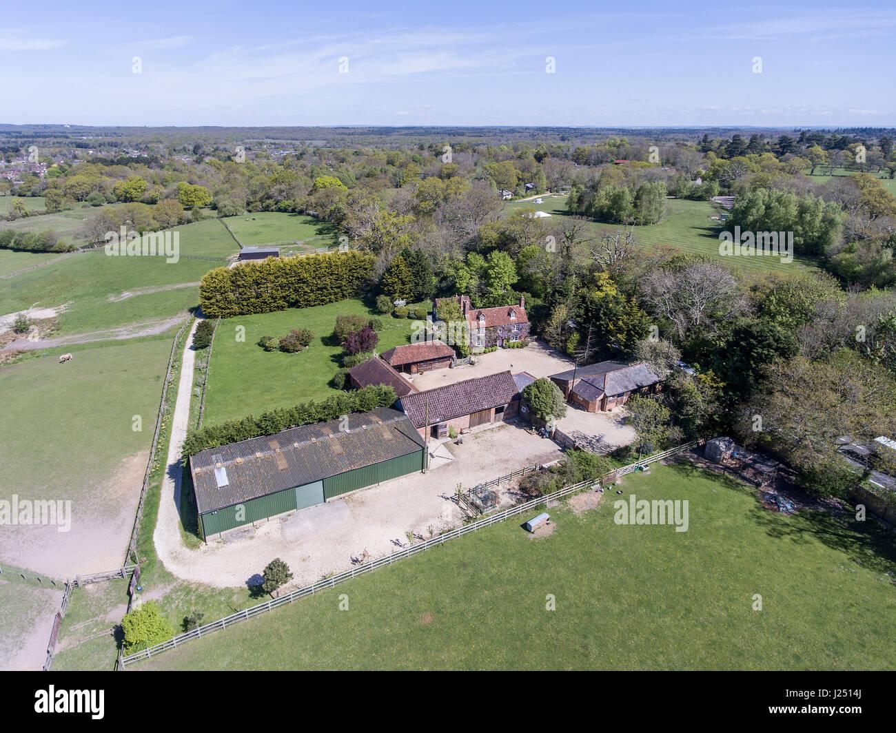 Aerial photograph English farm - Stock Image