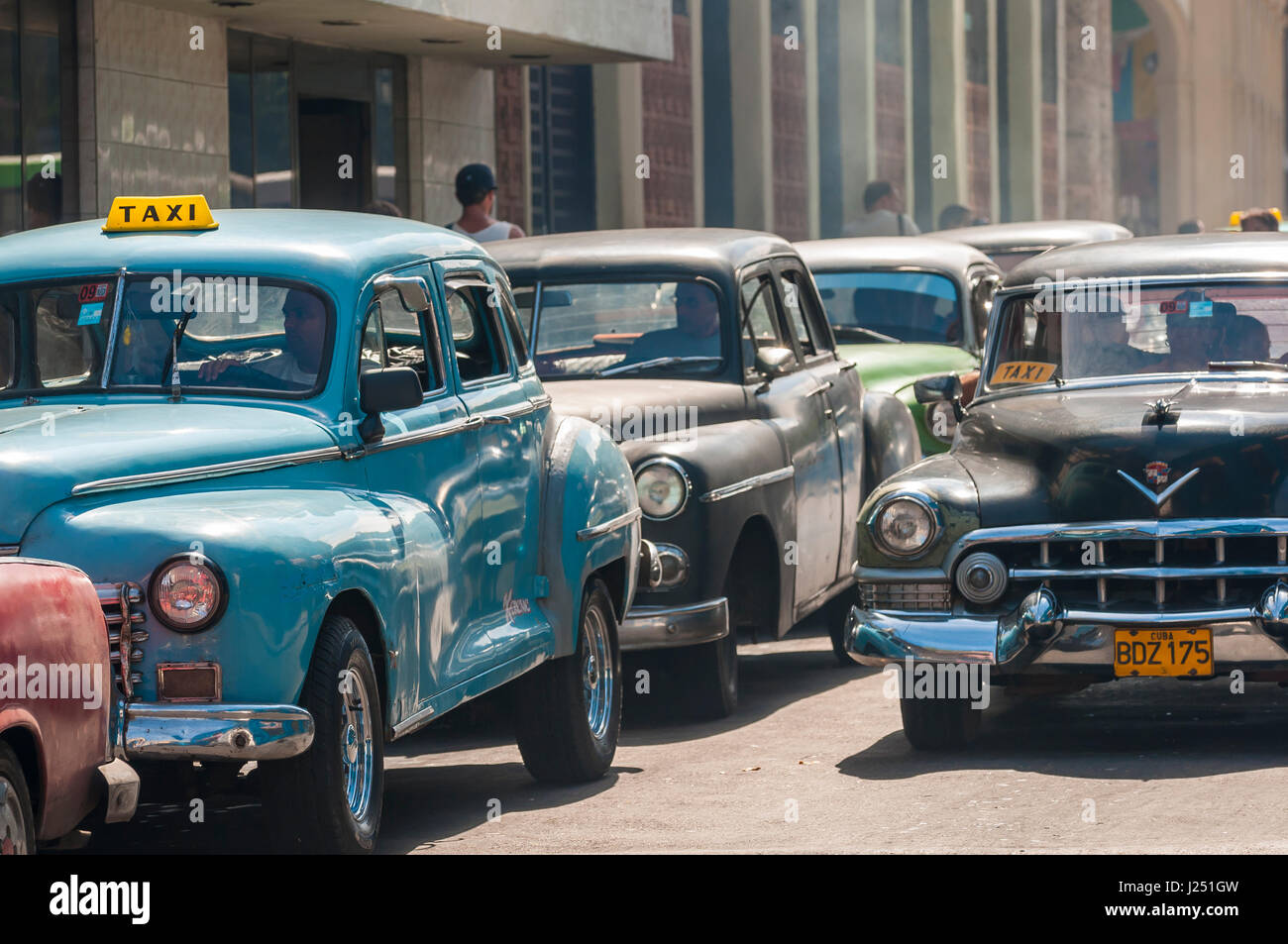 HAVANA - JUNE 2011: Vintage American cars acting as share taxis crowd the streets of Centro in a typical scene of - Stock Image