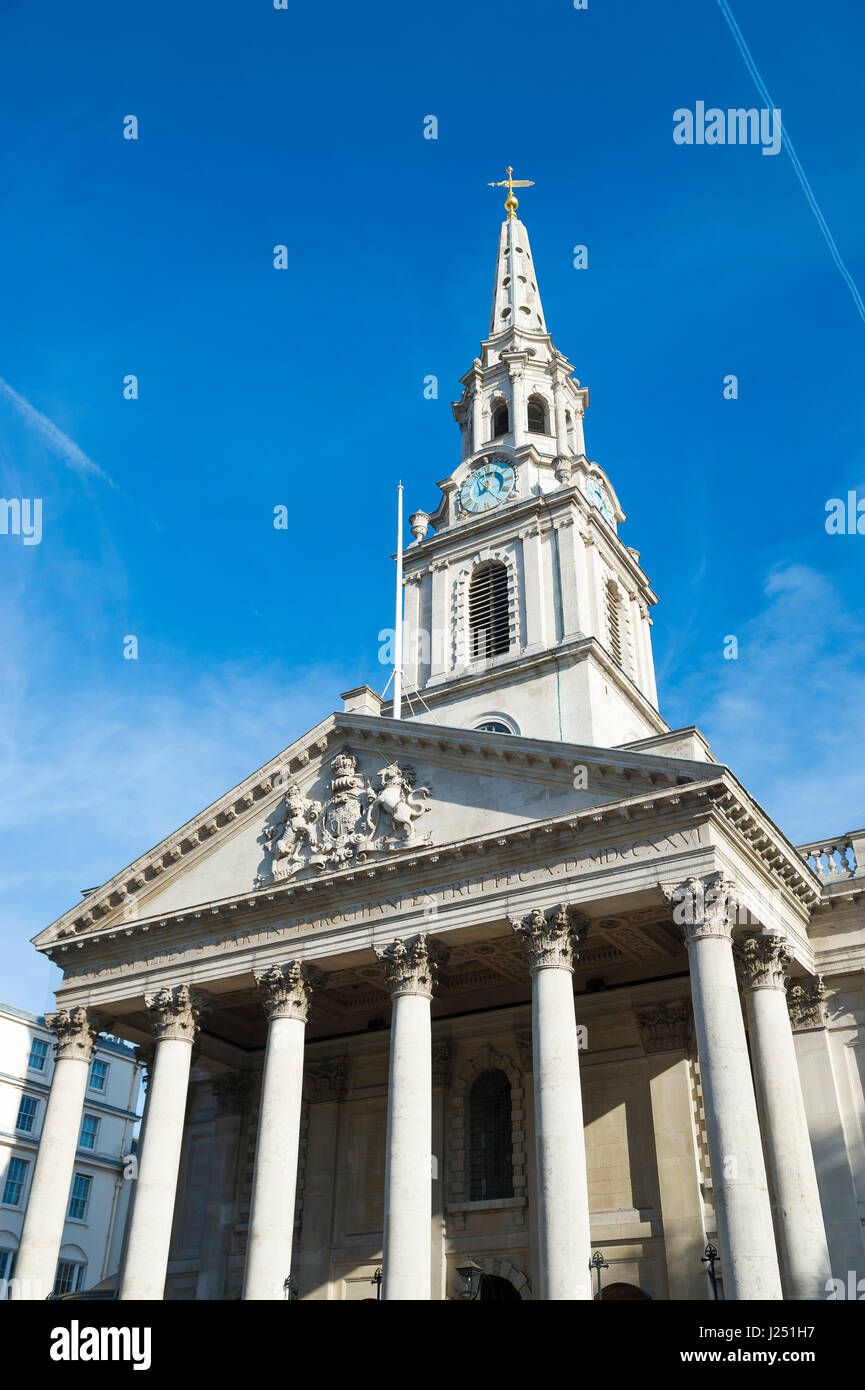 Bright blue sky view of the St Martin-in-the-Fields church, the London, England landmark built in 1726 Stock Photo