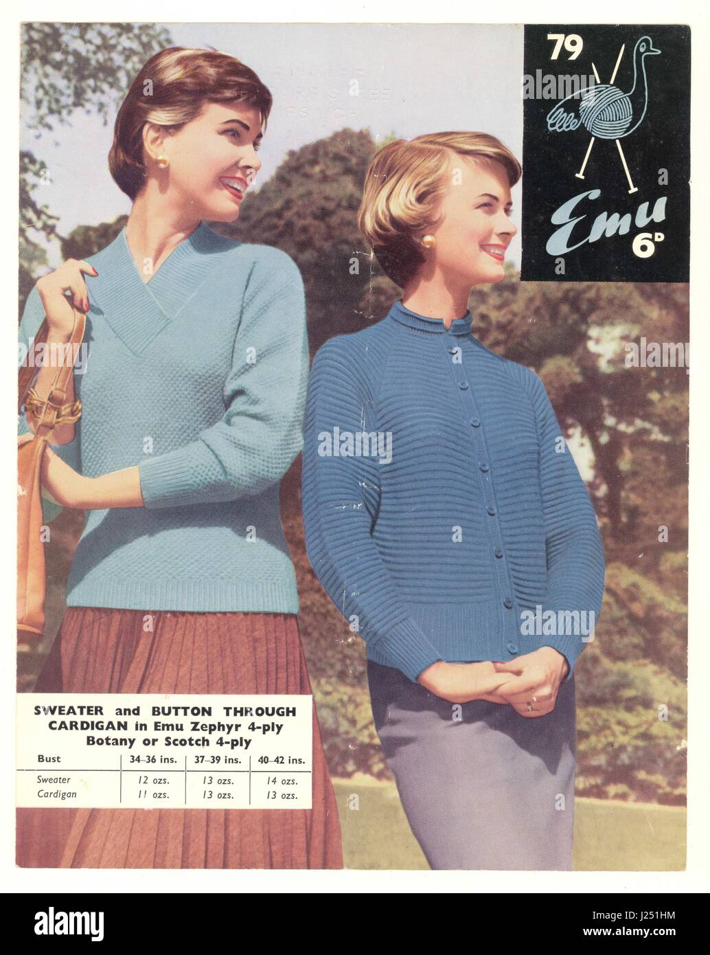 retro Emu knitting pattern from the 1950's - Stock Image