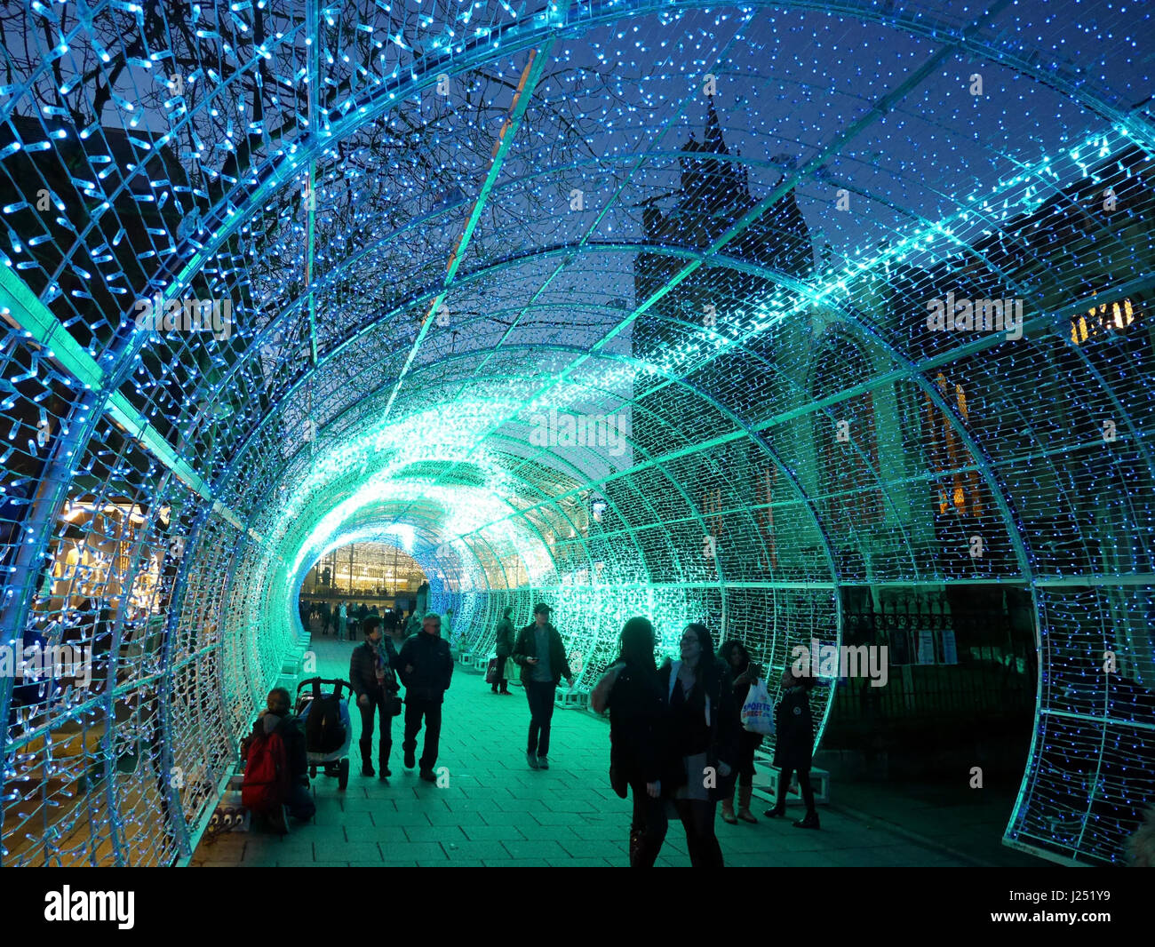 the spectacular tunnel of light part of the norwich city center christmas celebrations 2016