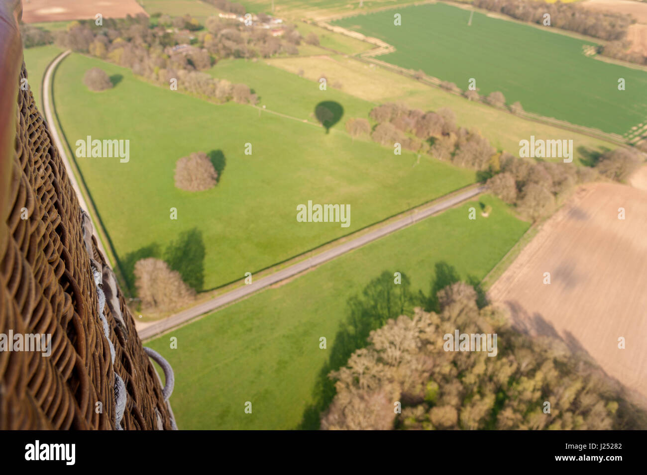 Aerial View from Hot Air Balloon over Hampshire UK - Stock Image