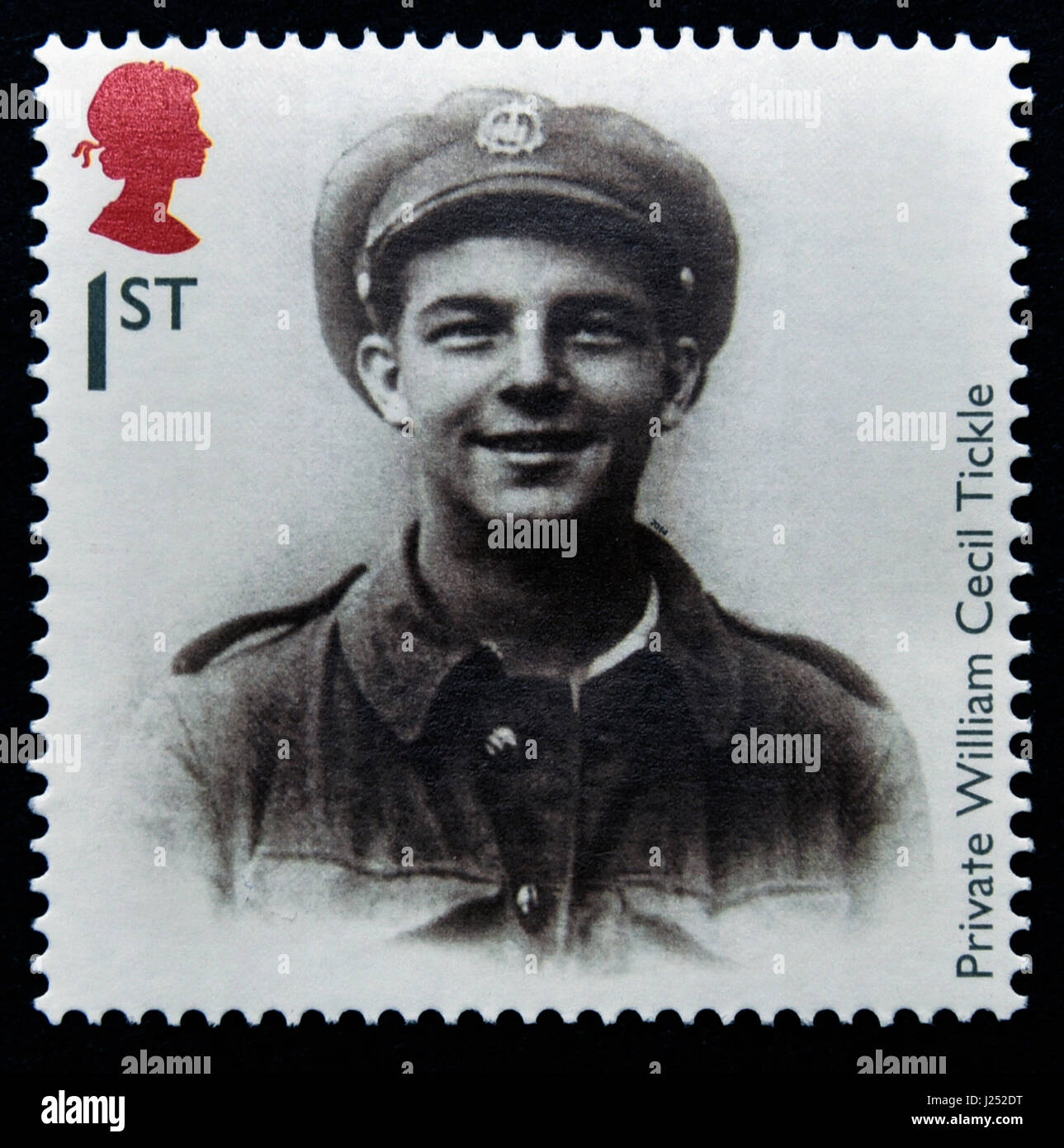 Postage stamp. Great Britain. Queen Elizabeth II. 2014. The First World War 1914 Souvenirs. Private William Cecil - Stock Image