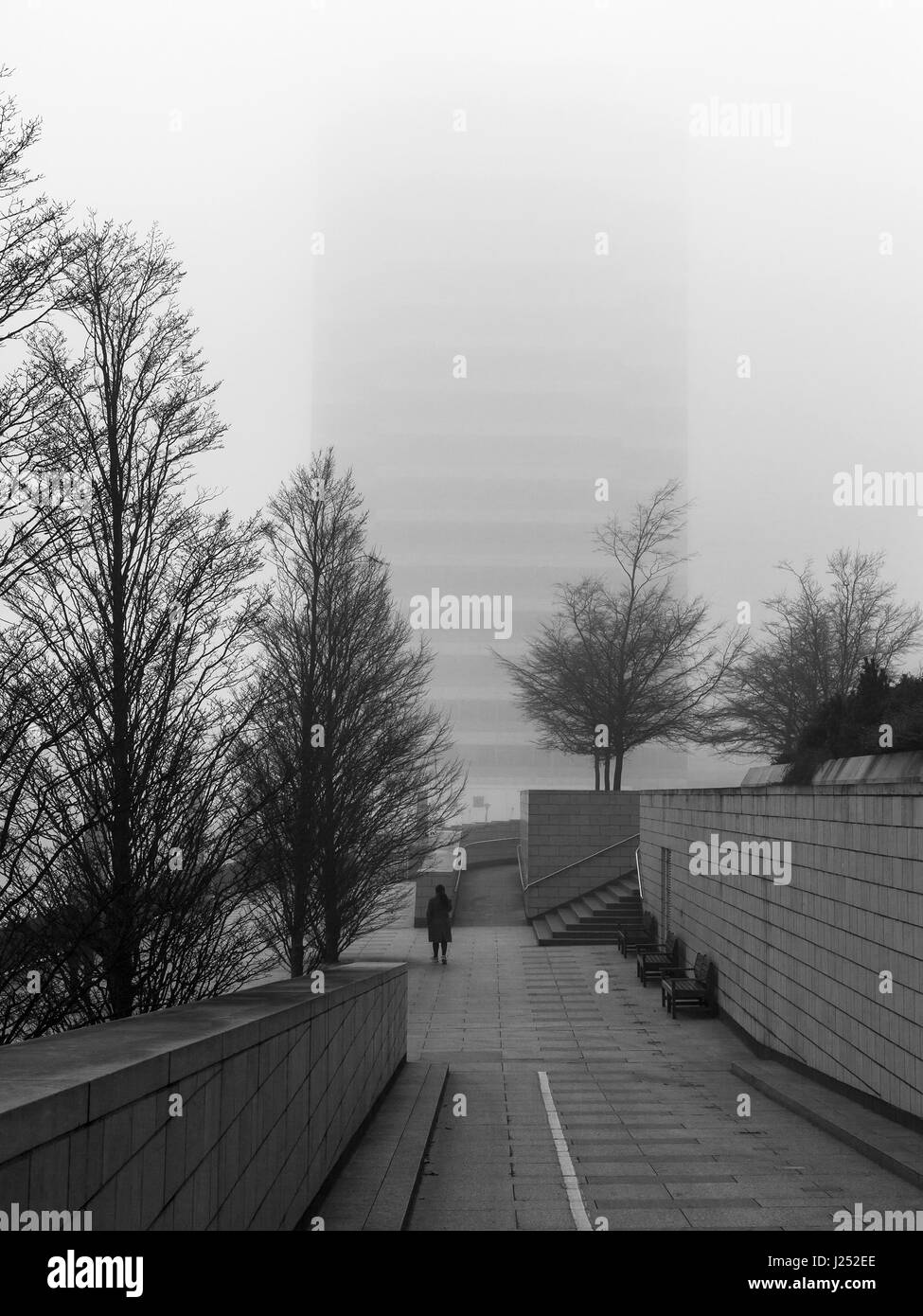 Docklands on a foggy winter day - Stock Image