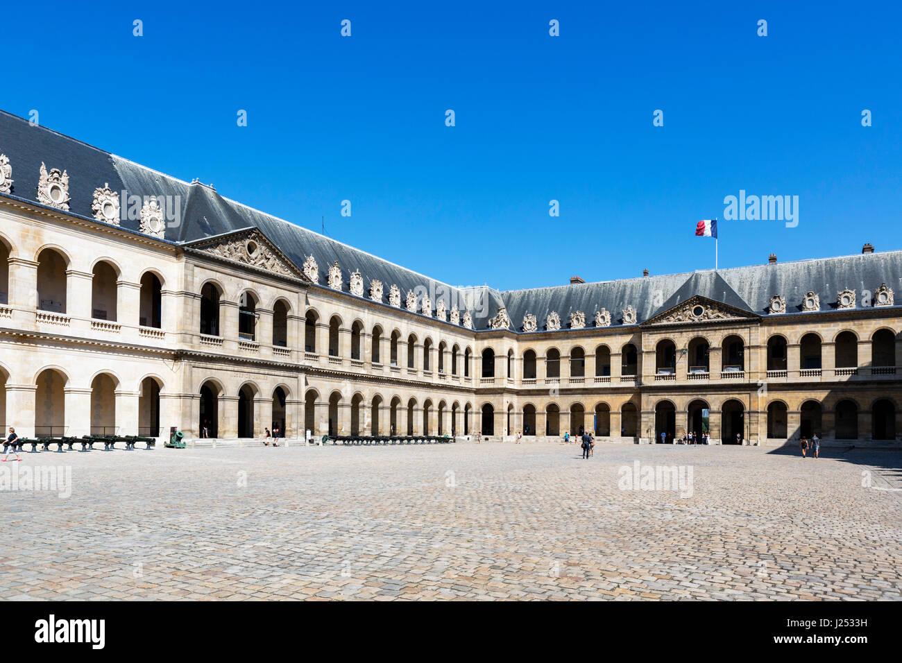 Courtyard (Cour d'honneur) at Les Invalides, Paris, France - Stock Image