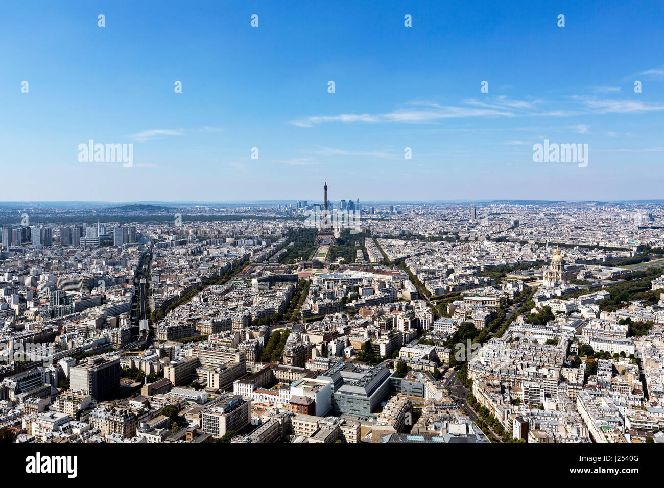 View over Paris, looking towards the Eiffel Tower and La Defense, from the observation deck at the top of the Tour - Stock Image