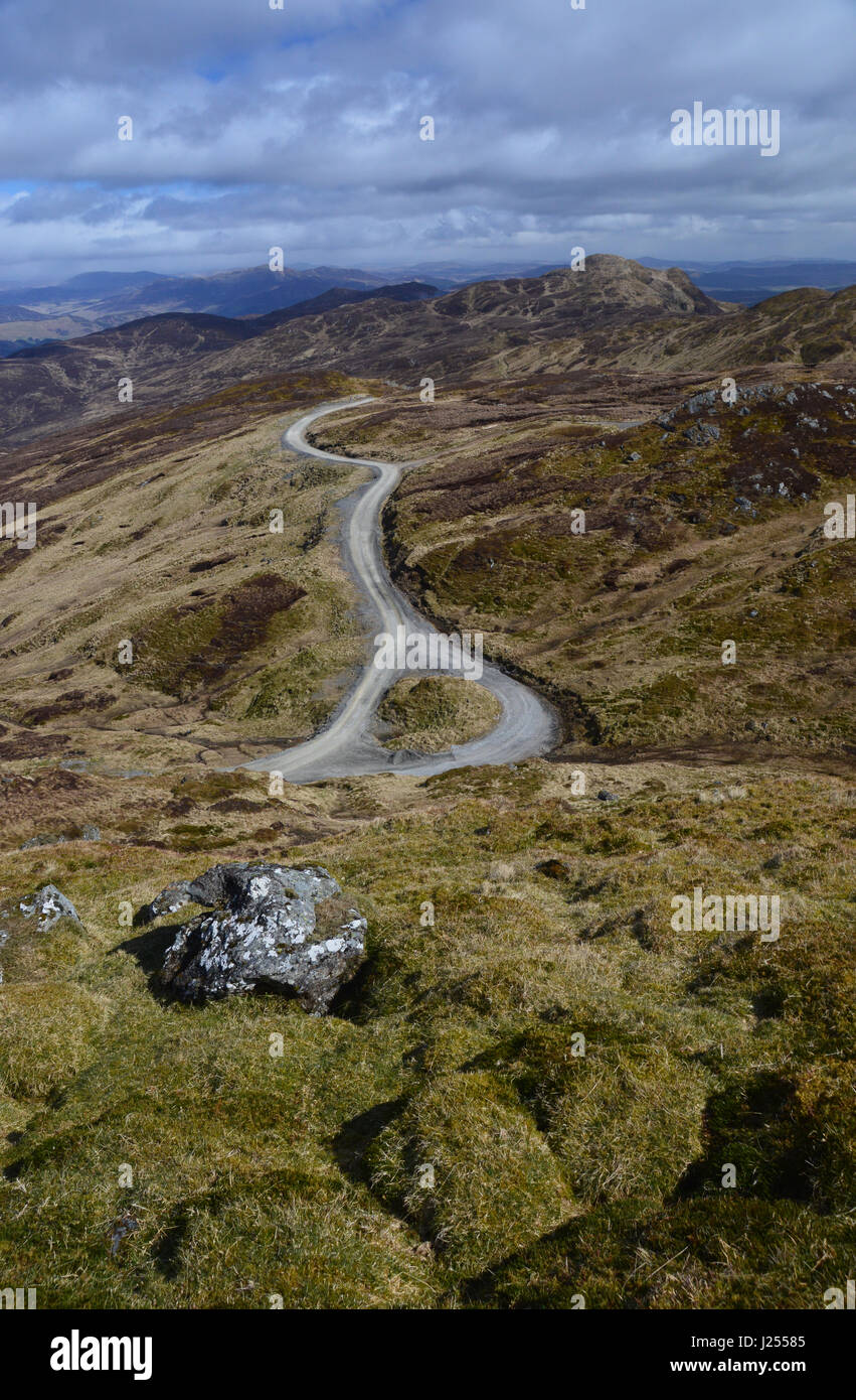 The Scottish Mountain Corbett Farragon Hill and the Foss Barytes Mine Road Passing Place from Meall Tairneachan - Stock Image