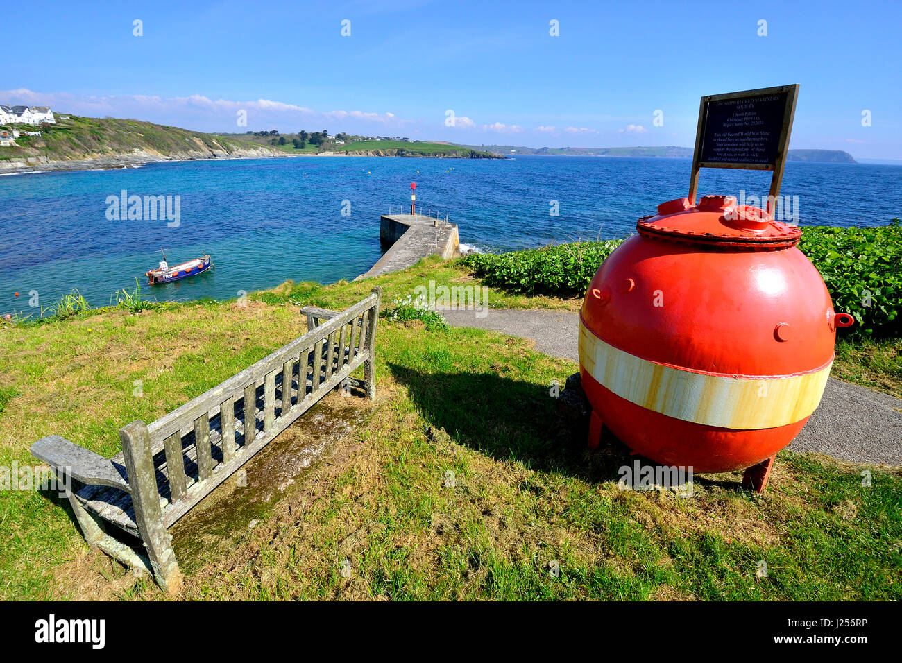 View of the harbour at the seaside holiday resort of Portscatho on the Roseland Peninsula, Cornwall, England, UK Stock Photo
