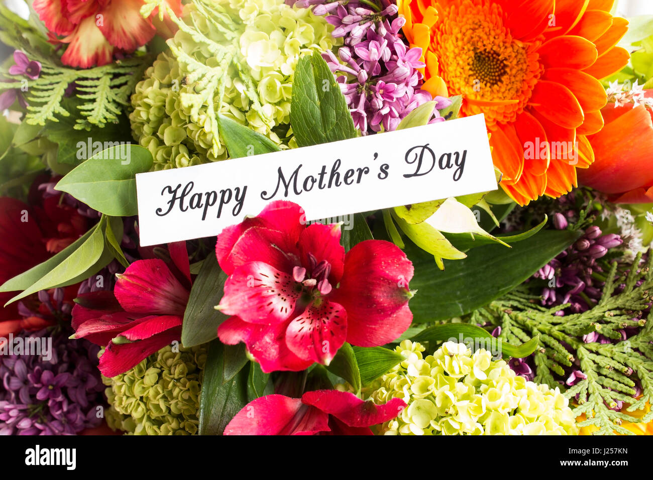 Happy Mothers Day Greeting Card With Bouquet Of Spring Flowers