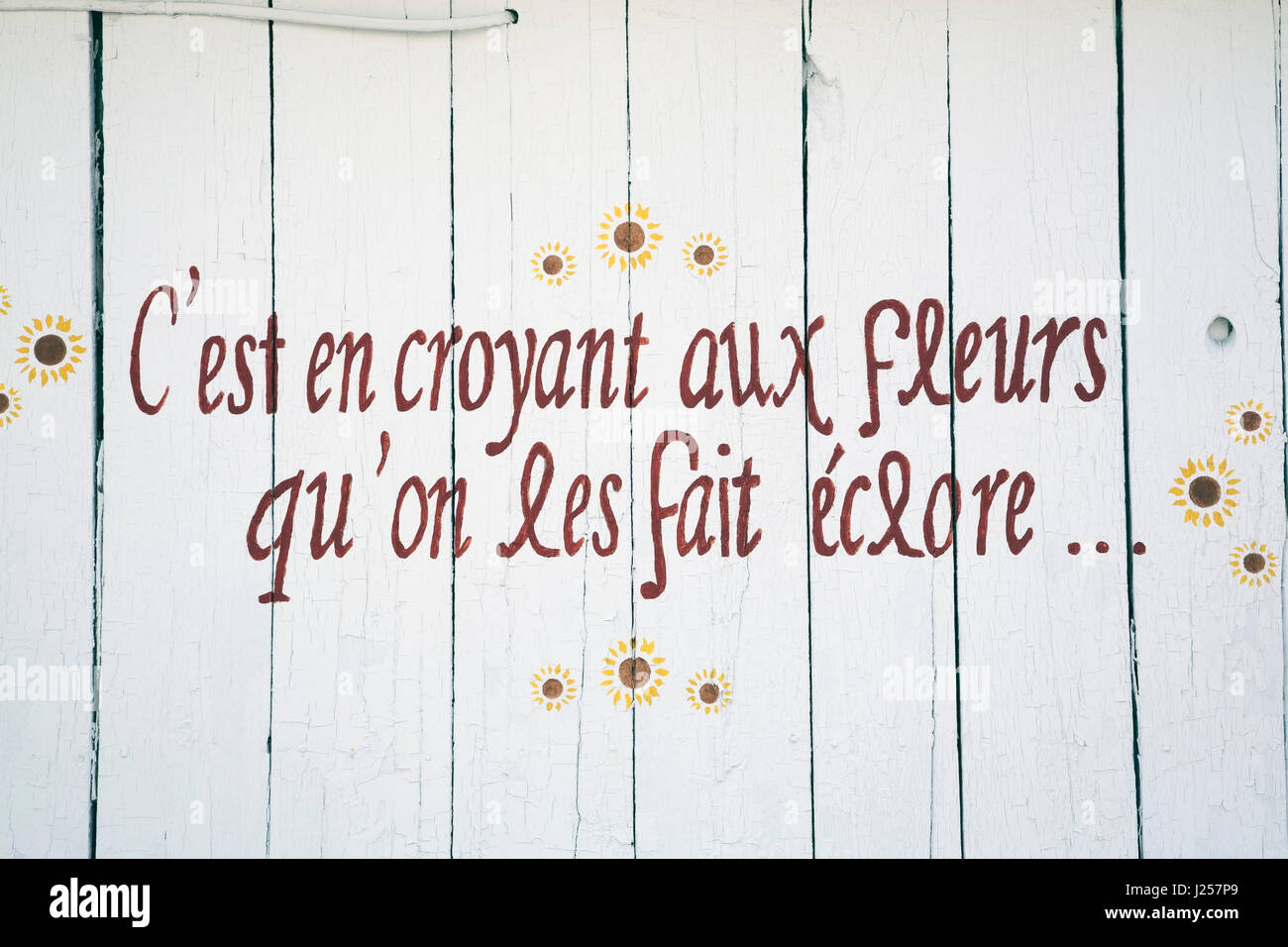 French language poetic phrase painted on the side of a barn that reads 'Its by believing in flowers that we - Stock Image