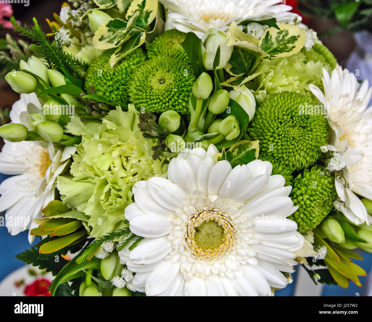 Beautiful, fragrant bouquet of colorful flowers at the market ...