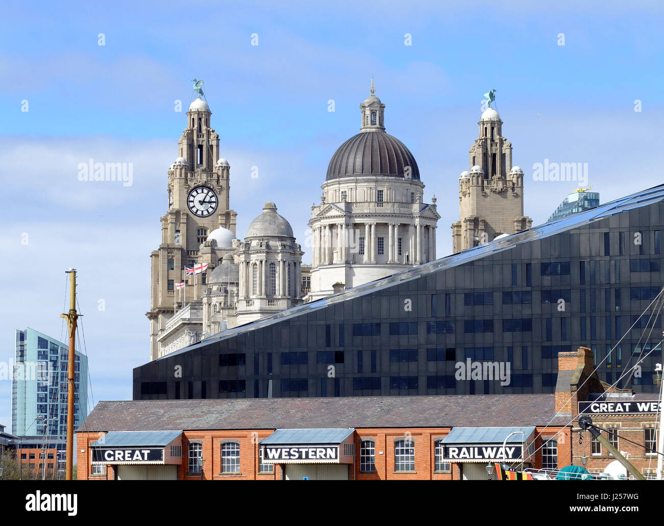 Liverpool's historic waterfront and dock Stock Photo