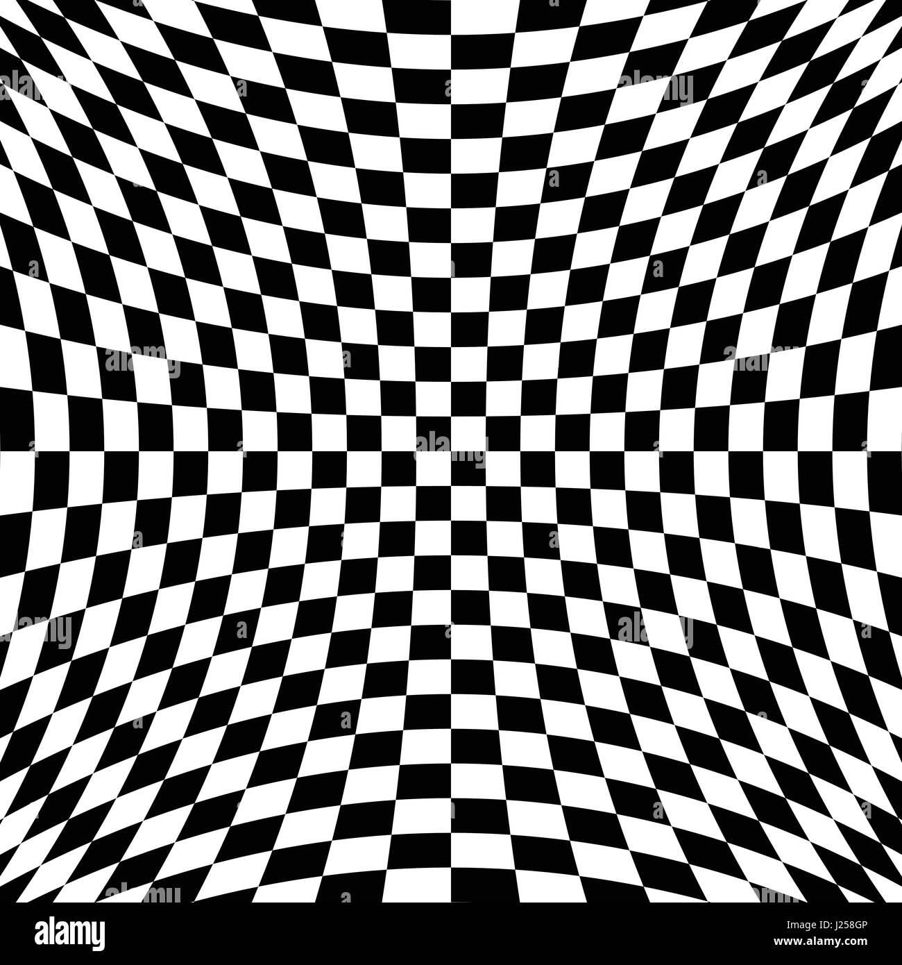 Black And White Checkered Curve Pattern Design For Abstract Stock
