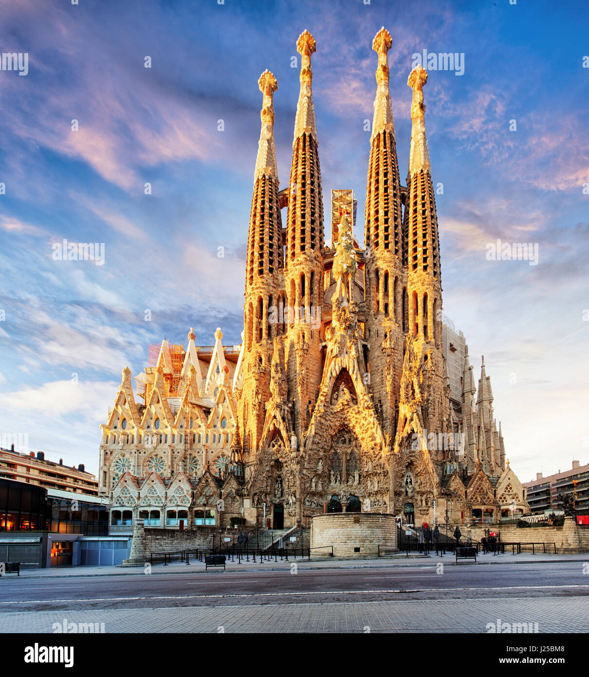 BARCELONA, SPAIN - FEB 10: View of the Sagrada Familia, a large Roman Catholic church in Barcelona, Spain, designed - Stock Image